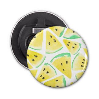 Gelbe Wassermelone schneidet Muster Runder Flaschenöffner