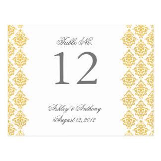 Gelbe weiße Damast-Arabeske-Tischnummer-Karte Postkarte