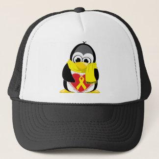 Gelber Band-Pinguin-Schal Truckerkappe