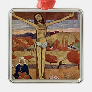 Gelber Christus durch Paul Gauguin, Vintage feine Quadratisches Silberfarbenes Ornament