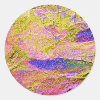 Gelber rosa blauer Zerstampfungs-Aufkleber -