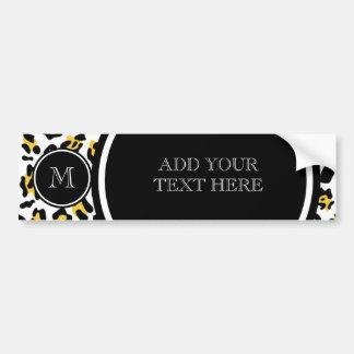 Gelber schwarzer Leopard-Tierdruck mit Monogramm Autoaufkleber