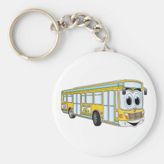 Gelber Stadt-Bus-Cartoon Schlüsselanhänger