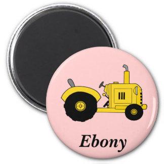 Gelber Traktor Runder Magnet 5,1 Cm