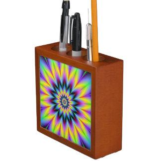 Gelber und blauer Blumen-Schreibtisch-Organisator Stifthalter
