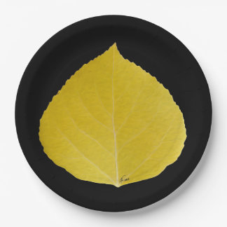 Gelbes Aspen-Blatt #5 Pappteller