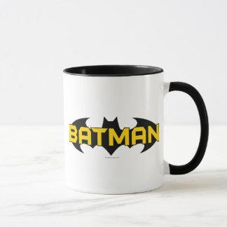 Gelbes Batman-Symbol-| u. schwarzes Namenslogo Tasse