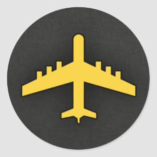 Gelbes bernsteinfarbiges Flugzeug Runder Aufkleber
