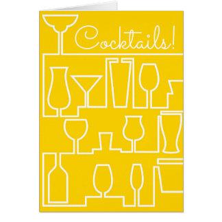 Gelbes Cocktail-Party Karte