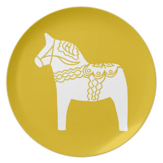 Gelbes Dala Pferd Flacher Teller