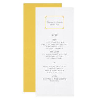Gelbes Dekochic-Hochzeits-Menü 10,2 X 23,5 Cm Einladungskarte