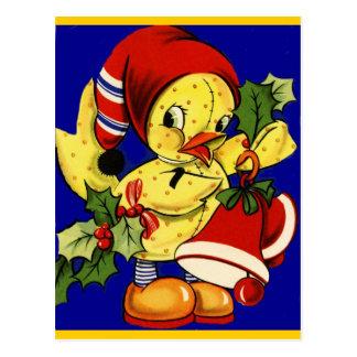 Gelbes Ducky Weihnachten Postkarte