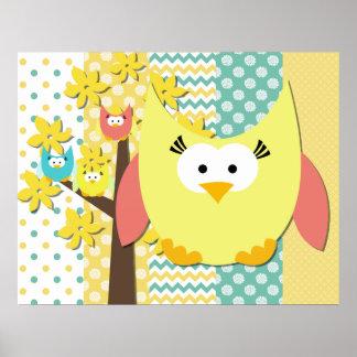 Gelbes Eulen-Kinderzimmer-Plakat Poster