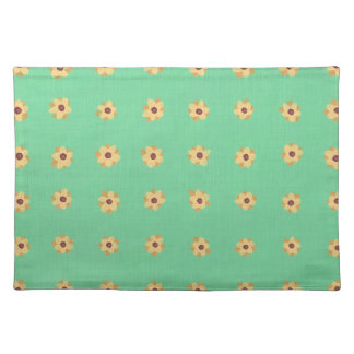 Gelbes Gänseblümchen-Blumen-Muster-hellgrüne Tischset