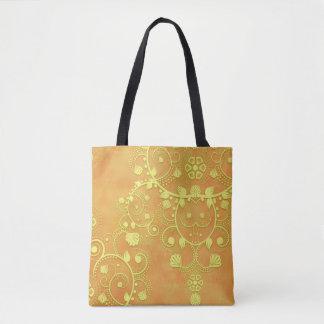 Gelbes Goldorange extravaganter Blumendamast