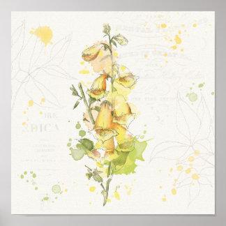 Gelbes mit Blumenspritzen Poster