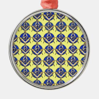 Gelbes Quadrat u. Kompass Rundes Silberfarbenes Ornament