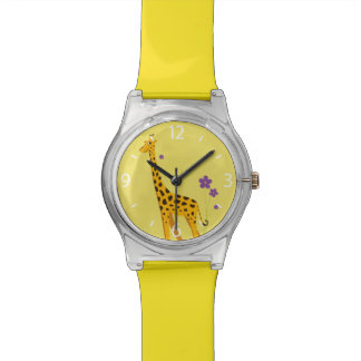 Gelbes Rollen-Skaten-lustige Giraffe Armbanduhr