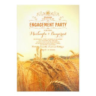 gelbes rustikales Vintages Verlobungs-Party des 12,7 X 17,8 Cm Einladungskarte