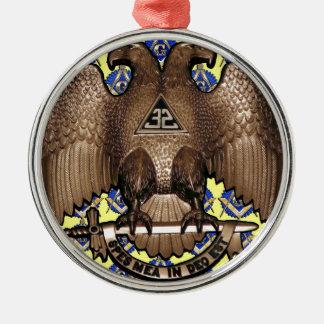 Gelbes schottisches Ritus-Quadrat u. Kompass Rundes Silberfarbenes Ornament