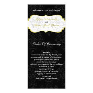 gelbes schwarzes Hochzeitsprogramm Personalisierte Werbekarte