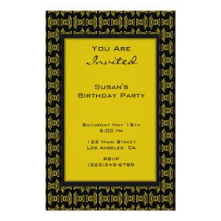 gelbes schwarzes Muster-Party Flyer