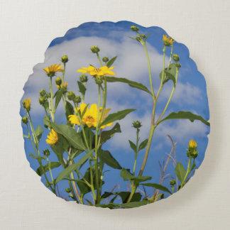 Gelbes Sonnenblume-Foto Rundes Kissen