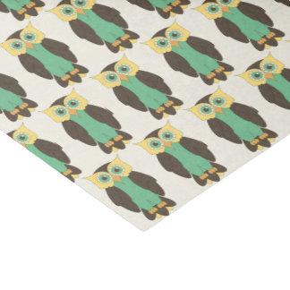 Gelbes und blaugrünes Eulen-Seidenpapier Seidenpapier