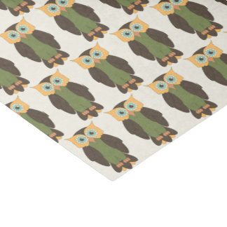 Gelbes und grünes Eulen-Seidenpapier Seidenpapier