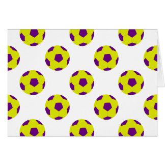 Gelbes und lila Fußball-Ball-Muster Karte