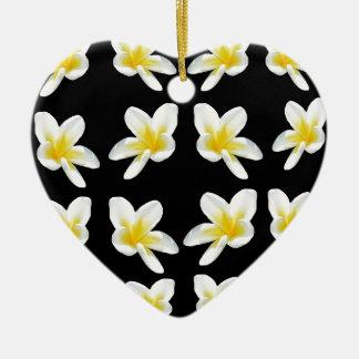 Gelbes und schwarzes Frangipani-Muster, Keramik Herz-Ornament