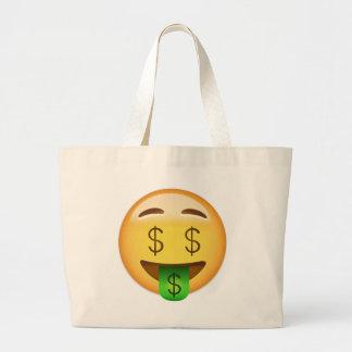 Geld-Mund Gesicht Emoji Jumbo Stoffbeutel