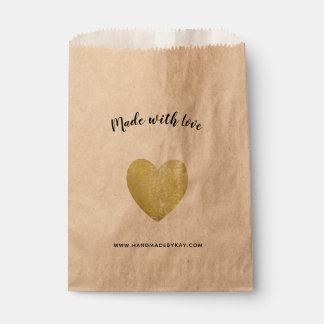 Gemacht mit Liebe • Goldfolien-Herz handgemacht Geschenktütchen