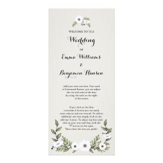 Gemalte Anemonen, die Programm Wedding sind Kartendruck