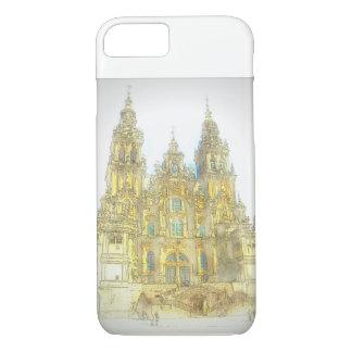 Gemalte Kathedrale in Santiago, Spanien iPhone 8/7 Hülle