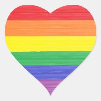Gemalte Regenbogen-Flagge Herz-Aufkleber