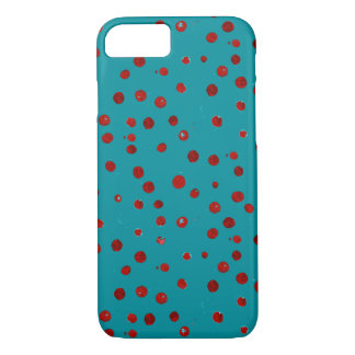 Gemalte rote Beeren auf Aquamarinekasten iPhone 8/7 Hülle