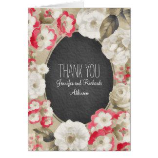 gemalte Vintage Hochzeit der Blumen danken Ihnen Mitteilungskarte