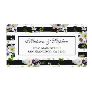 Gemaltes gestreiftes mit Blumenmuster - Hochzeit Versand Aufkleber