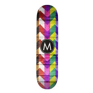 Gemaltes hölzernes Zickzack Streifen-Muster #3 19,1 Cm Old School Skateboard Deck
