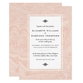 Gemarmorte Rosen-elegante Vintage Hochzeit 12,7 X 17,8 Cm Einladungskarte