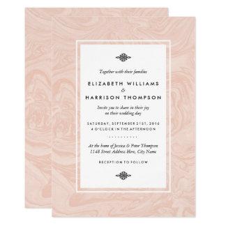 Gemarmorte Rosen-elegante Vintage Hochzeit Karte