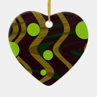Gemarmortes Punkt-Wellen-grünes Gold Keramik Herz-Ornament