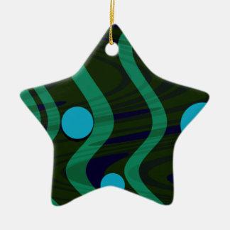 Gemarmortes Punkt-Wellen-grünes Gold Keramik Stern-Ornament