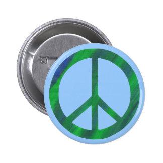 Gemischte grün-blaue Friedenszeichenknöpfe Runder Button 5,7 Cm