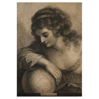 Geografie-weibliche Porträt-Kugel-Vintager Stich Holzposter