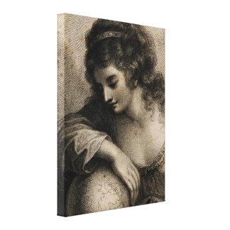 Geografie-weibliche Porträt-Kugel-Vintager Stich Leinwanddruck