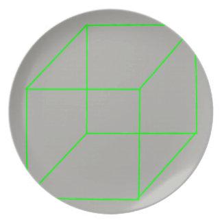 Geometrische Form-Platte (Grün) Melaminteller