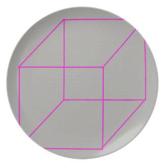 Geometrische Form-Platte (Rosa) Melaminteller