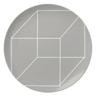 Geometrische Form-Platte (weiß) Melaminteller